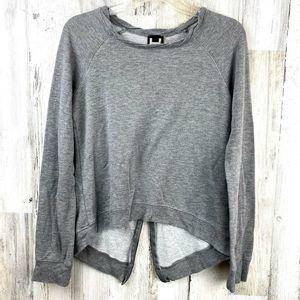 H By Bordeaux Gray Zipper Back Shirt Sweatshirt S
